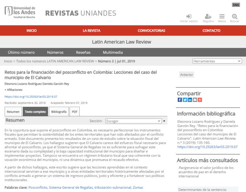 Latin American Law Review Eleonora Lozano, Daniela Garzón, proyecto financiación del posconflicto en Colombia