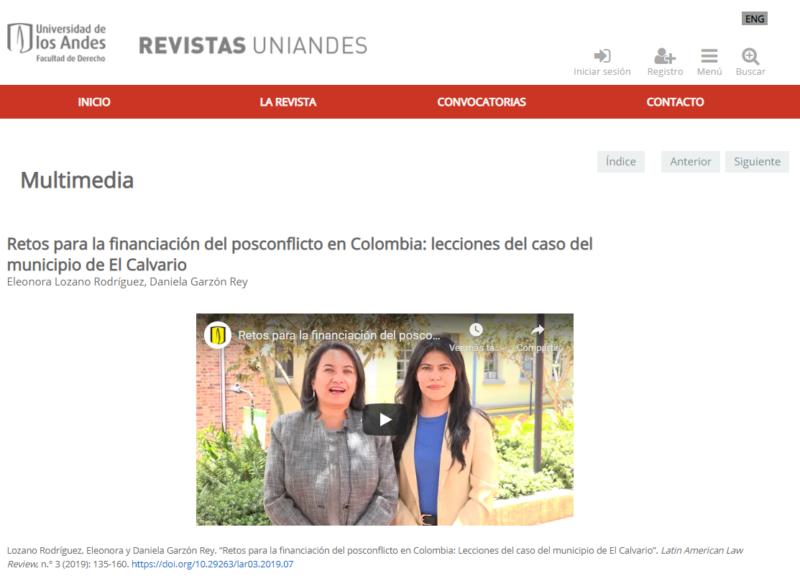 Nota informativa en la revista uniandes sobre proyecto sobre financiación del posconflicto en Colombia