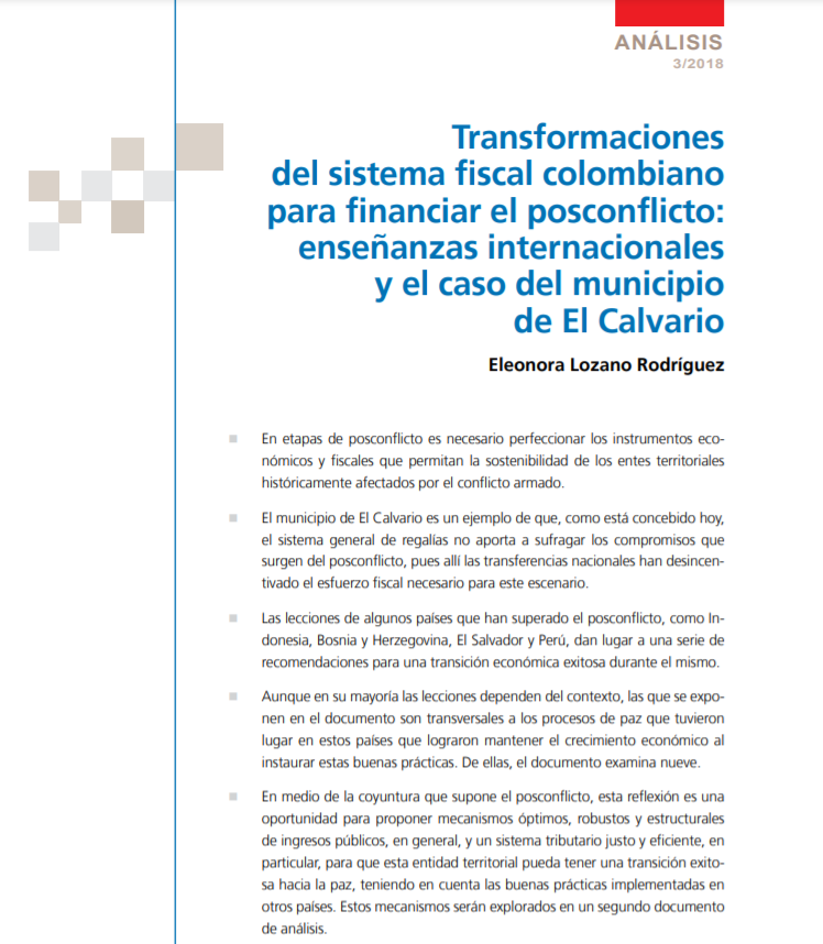 Transformaciones sistema fiscal colombiano para financiar el posconflicto