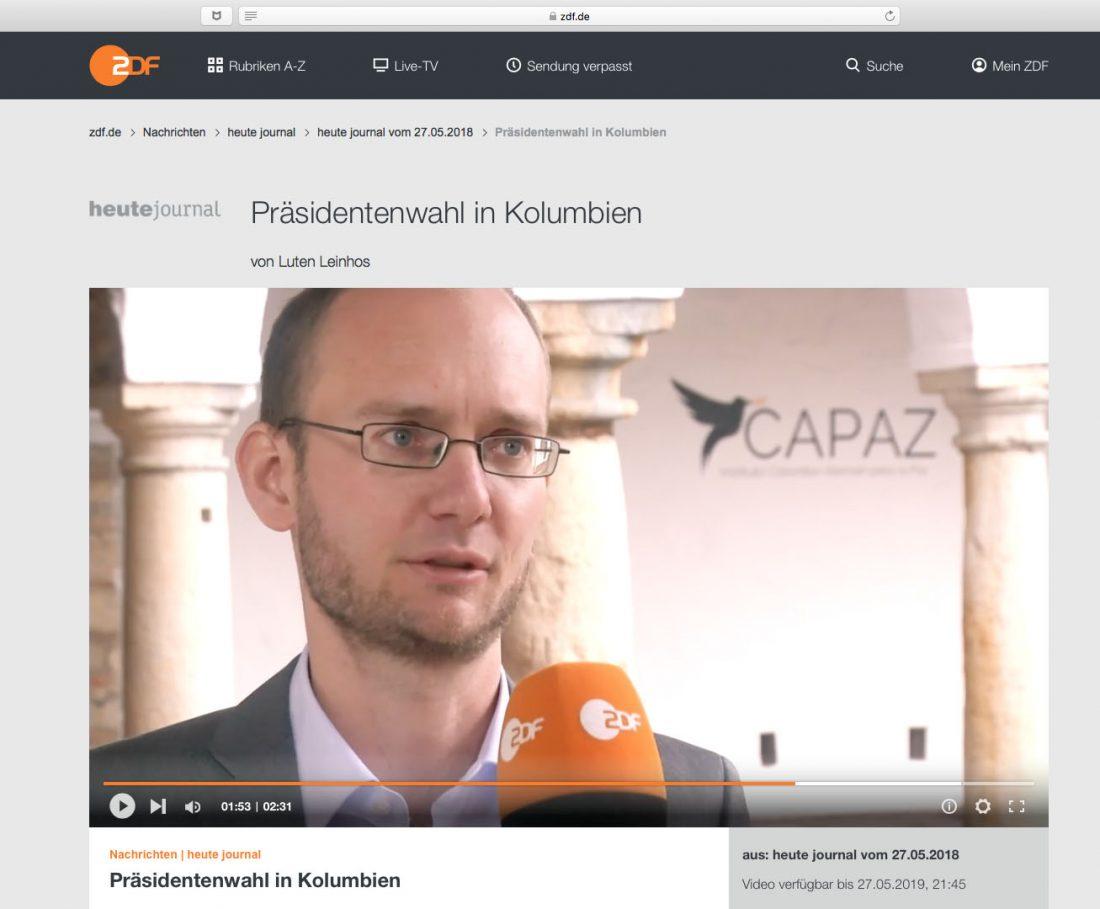 EL Director de CAPAZ fue entrevistado por la cadena alemana ZDF sobre las elecciones presidenciales en Colombia de 2018.