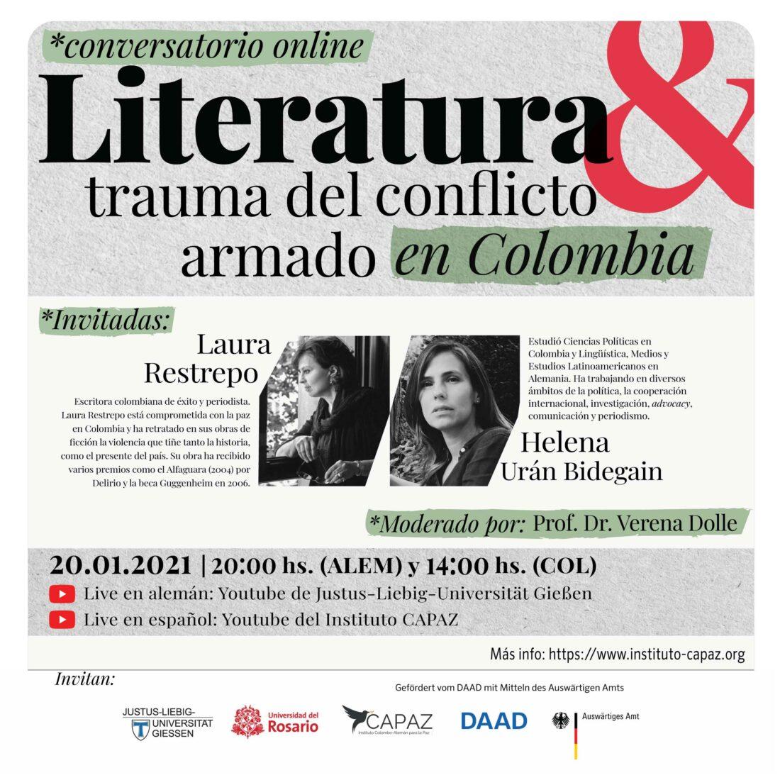 Flyer promocional conversatorio online Laura Restrepo y Helena Urán Bidegain