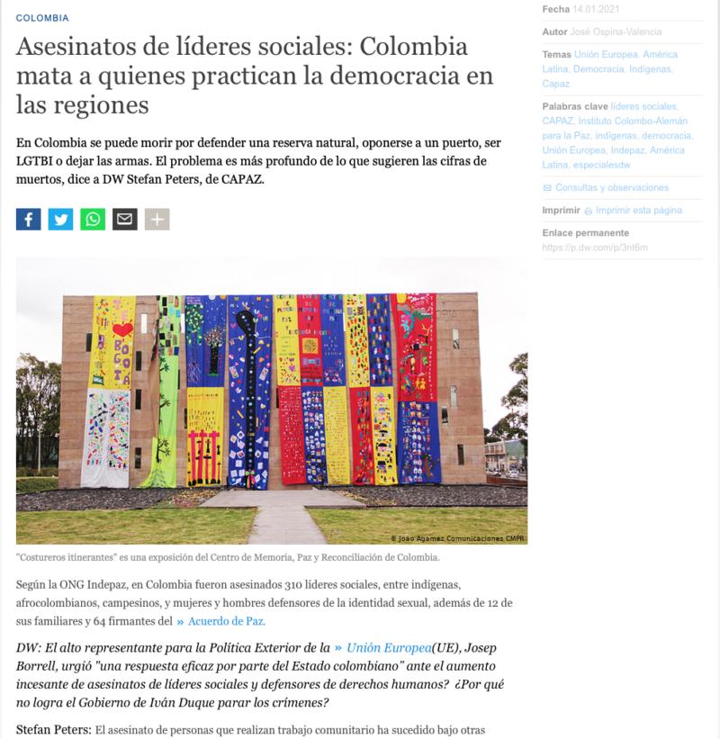 Captura de DW online con entrevista a Stefan Peters sobre asesinatos de líderes sociales en Colombia