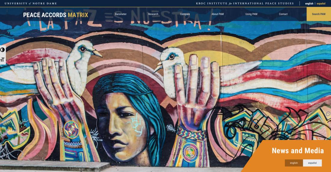 Matriz del Instituto Kroc sobre acuerdo de paz en Colombia
