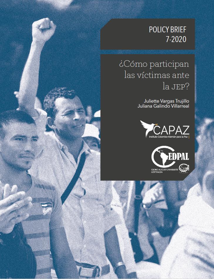 Portada cover del Policy Brief CAPAZ línea azul PB7-2020 sobre participación de víctimas en la JEP