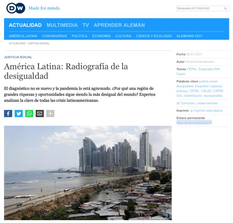 Deutsche Welle entrevista a Stefan Peters sobre desigualdad en América Latina