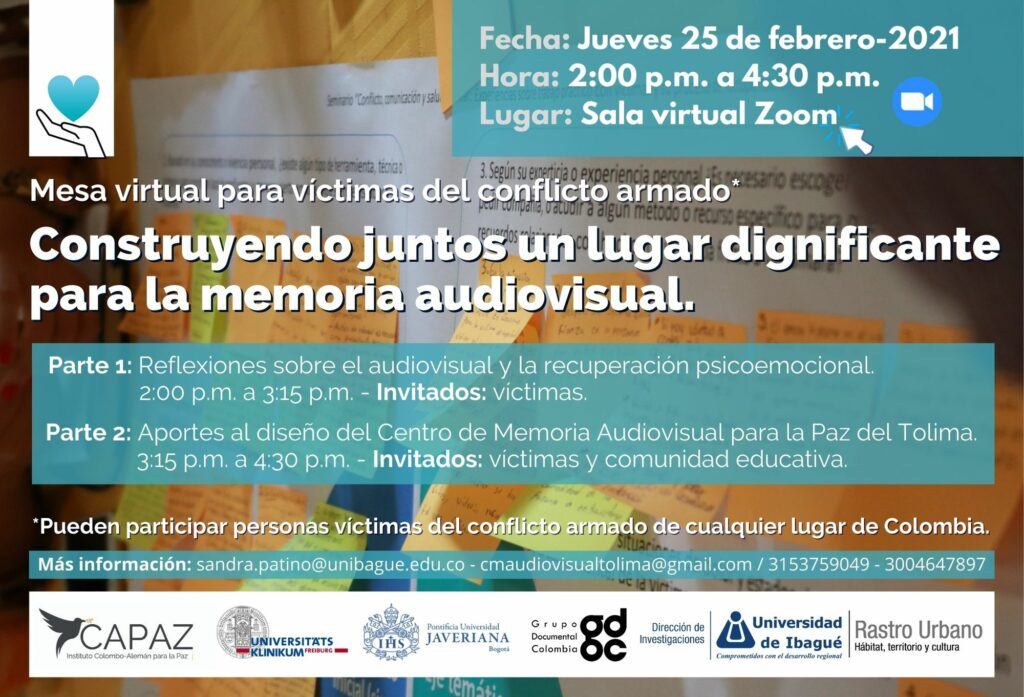 This is the flyer of the virtual roundtable on audiovisual memory of the universidad de ibague