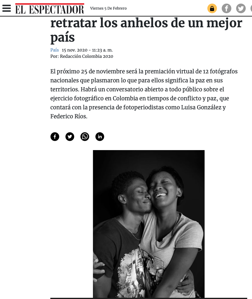 Articulo Colombia 2020 El Espectador con Federico Rios y Luisa González sobre Instantáneas de paz