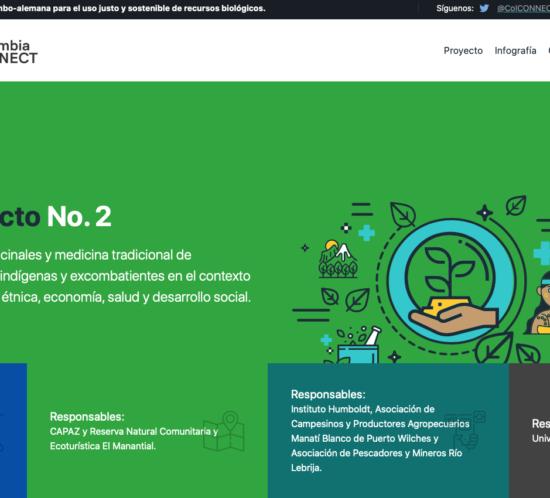 Captura de pantalla de la página de inicio o homepage de la página web de Colombia Connect