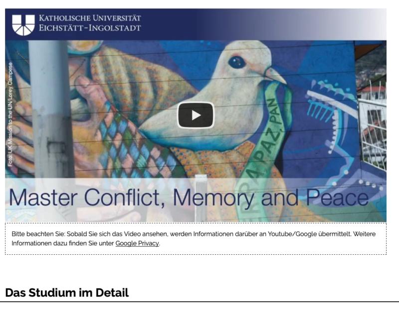 Homepage maestría con doble titulación de la Universidad del Rosario y la KU Eichstätt-Ingolstadt en conflicto, memoria y paz