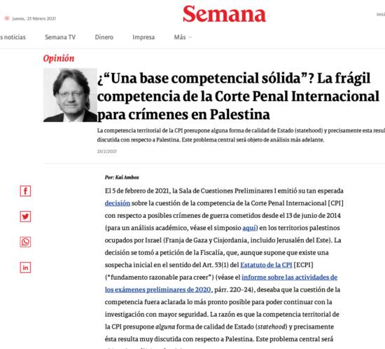 Kai Ambos opina en columna en Revista Semana sobre decisión de competencia de la Corte Penal Internacional CPI en casos en Palestina.