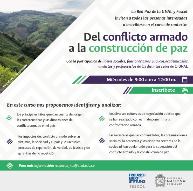 Flyer evento Fescol y Universidad Nacional de Colombia Red Paz