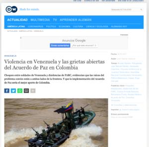 Deutsche Welle publica artículo sobre situación en marzo de 2021 en frontera entre Colombia y Venezuela y consulta para ello al director de CAPAZ, Stefan Peters.
