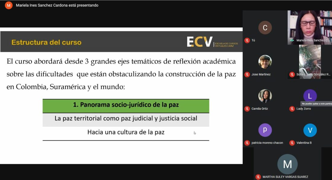 Captura de pantalla o screenshot de sesión inaugural del curso virtual de la ECV CAPAZ coordinado por Georg-August-Universität Göttingen