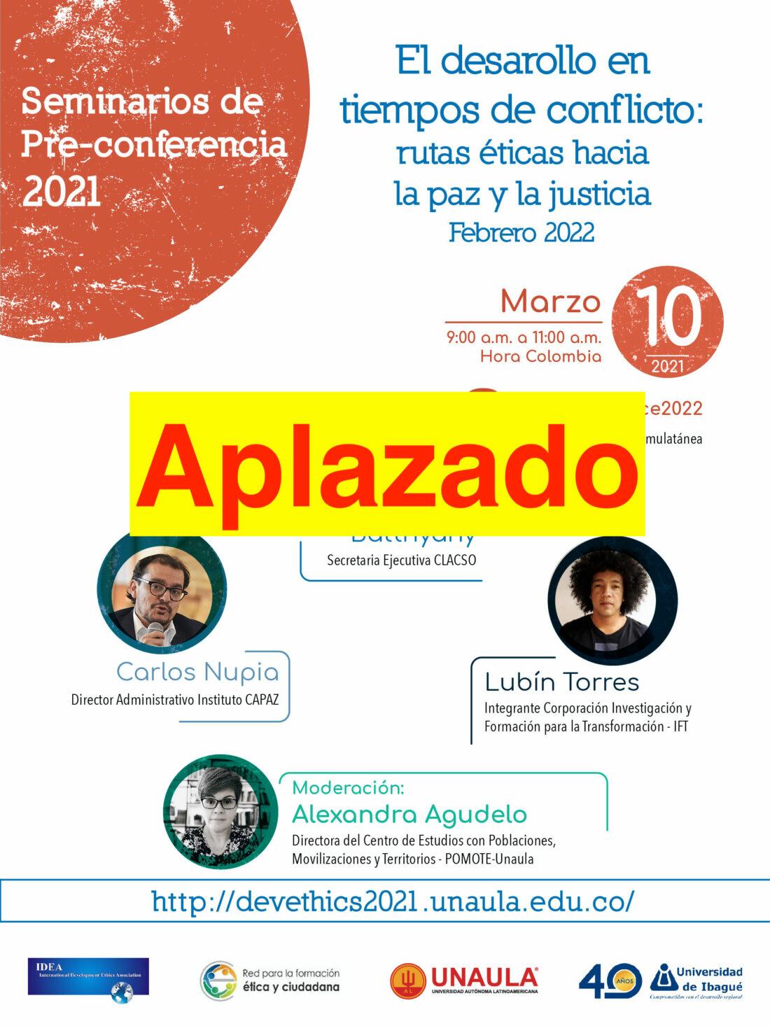 Afiche que anuncia el aplazamiento del evento agendado para el 10 de marzo de 2021