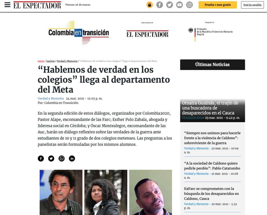 """Colombia2020 de El Espectador promueve los diálogos """"Hablemos de verdad en los colegios"""", con apoyo de la Embajada de Alemania en Colombia y el Instituto CAPAZ."""