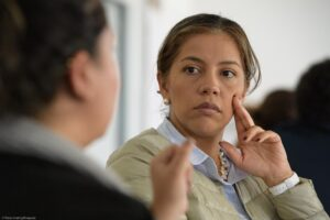 Laly Peralta es coordinadora del curso con excomabatientes FARC-EP desde la Universidad del Rosario en la ECV del instituto CAPAZ