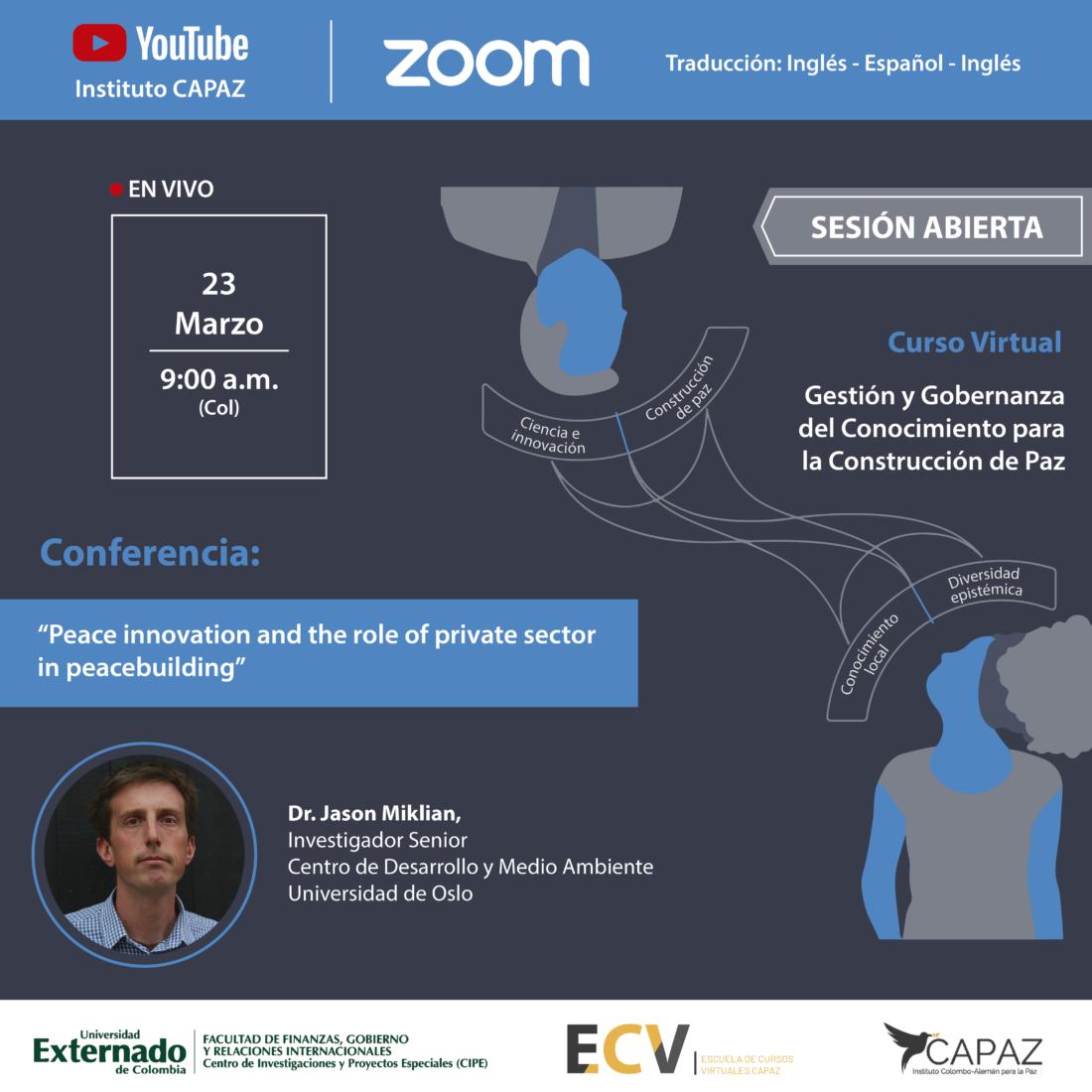 El curso virtual sobre gestión y gobernanza del conocimiento para la construcción de paz se desarrolla como parte de la ECV CAPAZ, escuela de cursos virtuales CAPAZ, en asocio con la Universidad Externado de Colombia.