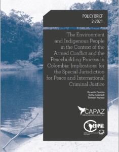 El documento 2-2021 de la Línea Azul del Instituto CAPAZ trata sobre pueblos indígienas, medio ambiente y construcción de paz en Colombia.