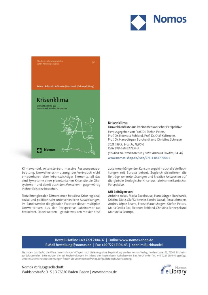 El volumen fue editado por Stefan Peters, Director de CAPAZ, y trata sobre cambio climático y afectaciones medioambientales en América Latina.