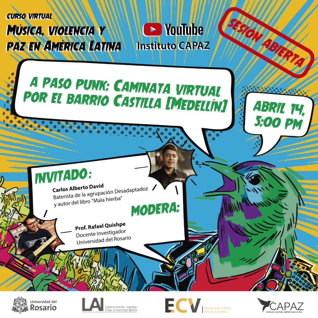 el curso virtual música, violencia y paz en América Latina es coordinado por la Universidad del Rosario y APAZ
