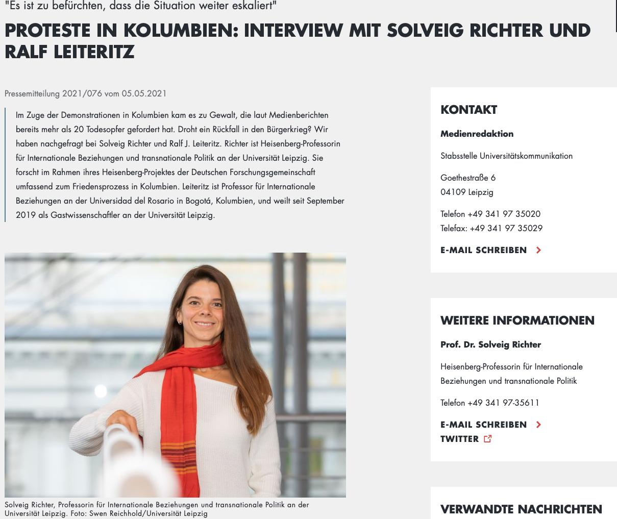 Solveig Richter fue vocera de la Universidad de Erfurt en el consorcio del Instituto CAPAZ. Hoy día es docente en la universidad de Leipzig.