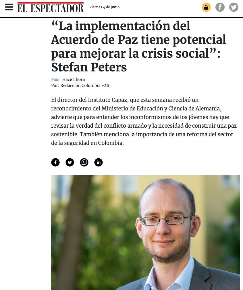 Stefan Peters es director del instituto colombo-alemán para La Paz CAPAZ.