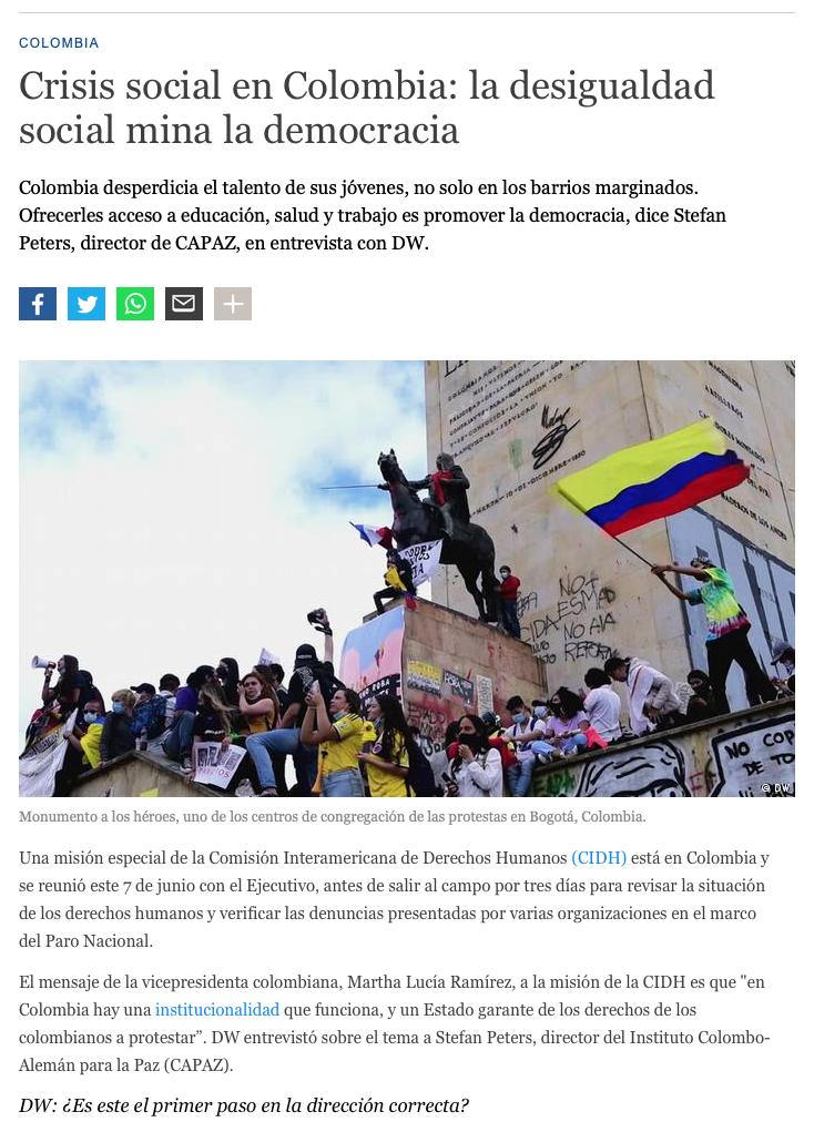 DW entrevista a Stefan Petes sobre protestas en Colombia.